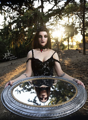 Victorian/Goth Portraits with Popi Dawn (Mirror Mirror II) (SpirosK photography) Tags: portrait female goth park victorian popidawn sunset trees spiroskphotography nikon d750 strobist tree black mirror reflection
