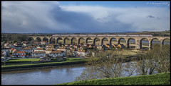 Viaduct & Landscape DSC_0284 (dark-dave) Tags: landscape bridge viaduct train river rivertweed berwickupontweed tweedmouth houses buildings sky cloud trees