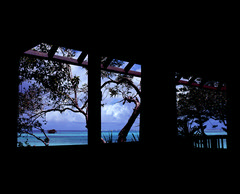 Room with a View  (Velvia 100) (Harald Philipp) Tags: isleofpines newcaledonia nouvellecalédonie îledespins roomwithavew beach rangefinder gf670 fujifilm velvia 220 primelens clouds beautiful romantic dreamy haraldphilipp outdoors rural scenic landscape dramatic nature naturephotography artisticnature iso100 film grain analog filmphotography mediumformat analogue water outside window hotel seascape balcony trees