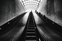 Who Was It Made Your Eyes Flicker Like That? (Thomas Hawk) Tags: america dc districtofcolumbia metro usa unitedstates unitedstatesofamerica washingtondc architecture bw escalator fav10 fav25 fav50 fav100