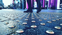 London Streets paved with gold.... (markwilkins64) Tags: london uk streetphotography street candid legs shoes walkingstick gold streetscene lowpov pov markwilkins pavement walking stride road bus car doubledeckerbus shops crossing purple