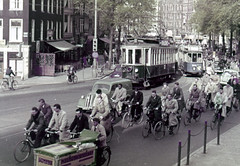 Amsterdam Cyclists - PolyColor (bcgreeneiv) Tags: amsterdam holland dutch 1950s slide slides polycolor faded