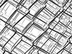 grid over grid (Rosmarie Voegtli) Tags: grids fence rolledup blackandwhite abstract dornach storm sabine work repair arbeit iphone