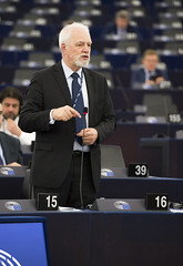 Jan Olbrycht podczas swojego wystąpienia na sesji plenarnej w Strasbourgu, 12. luty 2020r.
