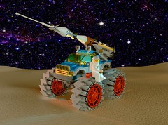 Febrovery 2020 Day 13: LL150 Tranquility Stomper (Littlepixel™) Tags: ncs lego neo classic space rocket benny rover buggy pickup missile moon lunar afol moc blender render ldraw bricksmith 2020 60115 octan truck monster