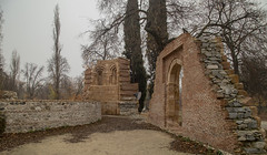 Ruins of San Isidro (fnks) Tags: spain madrid parc buenretiro palace cottage pond trees misty foggy colonnade statue ruins facade guard monument vacation holidays sky clouds blue water forest