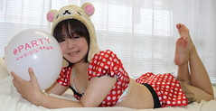 Good Colours For Valentine's Day (emotiroi auranaut) Tags: woman lady model pretty cute beautiful lovely nice charming attractive valentinesday party rilakkuma teddy bear polkadots feet barefoot toes female white round toy balloon squeak relaxing