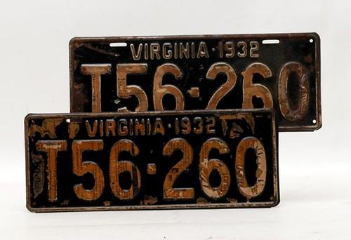 1932 VA License Plate Pair ($100.80)