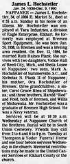 1990 - Jim Hochstetler obit - South Bend Tribune - 10 Dec 1990