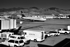 Mountains for a Backdrop While at Salt Lake City Airport (SLC, Black & White)