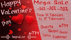 ═╬ Impulse ╬═ Happy Valentine's Day Mega Sale!!! CONTEST!! (Vip Angel (vlpangel)) Tags: applier omega animation animated avi ava avatar avie blog blogger blogging bento body belleza drink glamour genus catwa tattoo head hourglass hair hud online outfit love life impulse isis events event uber 3dgamer 3dgame 3d nails text photoshop phoenix physique sale firestorm fashion fair freya meshhead meshbody mesh maitreya world virtualworlds virtual venus second search sl secondlifeblogger sexy slblogger slmodel secondlifephotography slartist slevents slphotography secondlife contest slink shoes shop store shoping gift clothes
