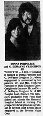 1983 - Dewayne Creighton Jr marries Donna Portolese - South Bend Tribune - 28 Aug 1983