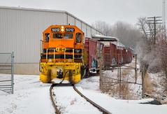 Boxed In (Carlos Ferran) Tags: indiana ohio iory train trains emd gp50 industry damewood enterprises urbana railway boxcar snow winter warehouse