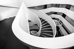 Geometry - The Art Of Shapes (Thomas Weiler Fotografie) Tags: building architecture city urban travel districtoffice abstract modern germany wideangle perspective pattern texture stairway staircase stairs spiral lines monochrome blackandwhite geometry design fineart modernearchitektur treppenhaus wendeltreppe thomasweilerfotografie erlangen landratsamt weitwinkel