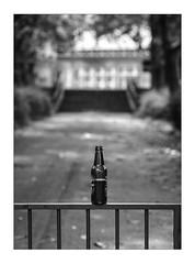 bottle on a metal fence (Armin Fuchs) Tags: arminfuchs lavillelaplusdangereuse würzburg zellerau bottle fence hff school bokeh
