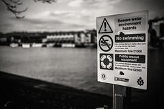 Health and safety....... (Dafydd Penguin) Tags: sign words health safety rules water harbour port harbor floating bristol ships sea centre avon historic blackandwhite blackwhite black white bw mono monochrome leica m10 35mm summicron f2