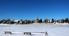 Panorama of Beloeil, Quebec, Canada in winter from across the Richelieu River (pegase1972) Tags: neige snow winter hiver quebec canada montérégie cold froid church église qc licensed exclusive getty ice glace river rivière monteregie