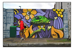 LONDON STREET ART by ARTISTA. (StockCarPete) Tags: artista streetart londonstreetart urbanart graffiti londongraffiti snake reptile flowers foresthill london uk mamba