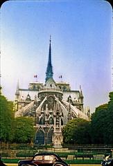 Vintage Kodachrome. October 1954. Paris (France). Notre Dame. (Jean-Paul Margnac) Tags: margnac jeanpaul paris france notredamedeparis notredame seine ancient film vintage kodachrome analog