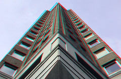 Statendam residential tower Rotterdam 3D (wim hoppenbrouwers) Tags: statendam residential tower rotterdam 3d symmetrie symmetry building hoogbouw anaglyph stereo redcyan