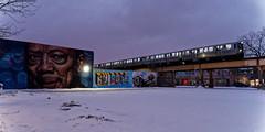 "street art and the ""L"" (RCB4J) Tags: chicago l logansquare rcb4j ronniebarron sonyfe2470mmf4zaoss sonyilce7m2 sonyalpha usa art night photography quincyjones sony street streetart thel train dxo dxopl3"