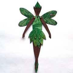 Forest Elf paper doll (JuliaPeculiart) Tags: paper doll paperdoll jointed articulated handmade pixie fae elf woodland forest juliapeculiar puppet papercrafts faeholm wings
