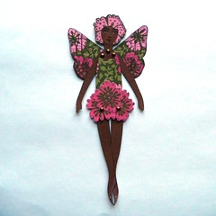 Flower Fairy paper doll (JuliaPeculiart) Tags: fairy pixie elf flowers blossom articulated jointed handmade juliapeculiar paper puppet doll paperdoll