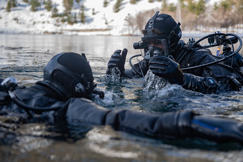 Explosive ordnance disposal technicians, from Explosive Ordnance Disposal Mobile Unit (EODMU) 8, assigned to Navy Expeditionary Combat Force Europe-Africa/Task Force (CTF) 68, conduct in-water safety checks.