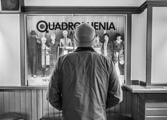 Quadrophenia. (CWhatPhotos) Tags: cwhatphotos flickr camera photographs photograph pics pictures pic picture image images foto fotos photography artistic that have which contain digital olympus four thirds penf 17mm prime newcastle upon tyne day out around about man back pose male quadrophenia mirror pub bw mono rear