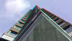 Statendam residential tower Rotterdam 3D (wim hoppenbrouwers) Tags: statendam residential tower rotterdam 3d anaglyph stereo redcyan hoogbouw up bricks
