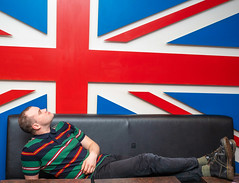 Union Jack, Sergeant Peppers. (CWhatPhotos) Tags: cwhatphotos flickr camera photographs photograph pics pictures pic picture image images foto fotos photography artistic that have which contain digital olympus four thirds penf 17mm prime newcastle upon tyne day out around about union jack sergeant peppers man male pose portrait pub fred perry polo top dr marten martens docs dm dms black church yellow stitching