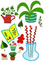 home plants illustration (irinasyrbul) Tags: home plant mushrooms envelope leaves tea pot illustration