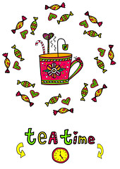 tea time invitation (irinasyrbul) Tags: illustration tea time clock english sweet