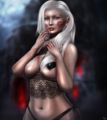 Morte (ButterCup Arcana) Tags: second life photography photo photoshop edit repaint gothic vampire sexy beautiful white hair lingerie curves curvy bloody blood thirst