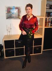 💝 Happy Valentine´s Day 💝 (Rikky_Satin) Tags: satin blouse leather skirt pantyhose nylons pumps crossdresser crossdressing transvestite transformation m2f mtf feminization sissy secretary