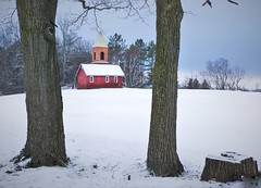 Between The Trees (JACK TOME) Tags: church trees ontario winter snow