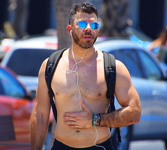 Backpack (Alan46) Tags: hunk stud handsome sexy muscular muscles masculine pecs torso abs nips nipples armpits pits hairychested treasuretrail scruff unshaved beard shorts sunglasses hunky beefy beefcake buffed brawny ballsy bitchin built boardwalk man guy guapo macho telaviv israel