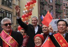 Chinese New Year NYC 2020 (tai_lee2) Tags: parade celebrate celebration streamers balloon flag chinese lunar new year nyc costume red people person politician building street road barrier sign happy deblasio mayor