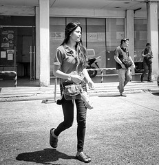 Crossing the street (Beegee49) Tags: street people crossing man young woman blackandwhite monochrome sony a6000 bw bacolod city philippines asia happyplanet asiafavorites
