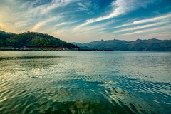 Srinakarin lake in Kanchanaburi province, Thailand (UweBKK (α 77 on )) Tags: kanchanaburi province thailand southeast asia sony alpha 77 slt dslr srinakarin lake water reflection sky blue cloud landscape view scene scenery scenic
