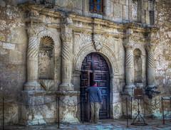 Welcome to the Alamo (donnieking1811) Tags: texas sanantonio thealamo doors stone columns signs man arch exterior hdr canon 60d lightroom photomatixpro