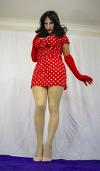 Gone Dotty! (2) (MarilynBardot) Tags: mask polkadots femillusion hosiery fishnets pose realistic