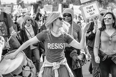 Resist (Thomas Hawk) Tags: america bayarea donaldtrump eastbay oakland sfbayarea trump us usa unitedstates unitedstatesofamerica westcoast womensmarch womensmarch2019 womenswave women'smarchoakland women'smarchoakland2019 bw demonstration politics protest resist california fav10 fav25