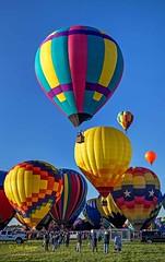 Miss Shenanigans 1b and group (ABQ) (edit) (MO FunGuy) Tags: 2019albuquerqueinternationalballoonfiesta newmexico hot air balloon