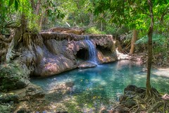 Pool of Huay Maekhamin waterfall in Kanchanaburi province, Thailand (UweBKK (α 77 on )) Tags: kanchanaburi province thailand southeast asia sony alpha 77 slt dslr pool water flow reflection tree forest jungle huay maekhamin huaymaekhamin waterfall green nature outdoors