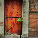 red door - red brick