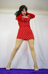 Gone Dotty! (1) (MarilynBardot) Tags: pose polkadots realistic mask femillusion fishnets hosiery makeup