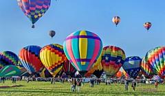 Miss Shenanigans 1c and group (ABQ) (edit) (MO FunGuy) Tags: 2019albuquerqueinternationalballoonfiesta newmexico hot air balloon