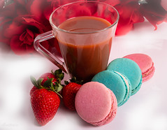 Hot Chocolate and French Macaroons (See what I see.) Tags: hotchocolate challenge focusstacked frenchmacaroons strawberries cookies smileonsaturday sweetsformysweet valentines