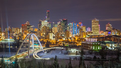 Valentines Night 2020 ('Scratch') Tags: edmonton yeg bridge buildings city color lights nightscape river skyline urban valley vibrant